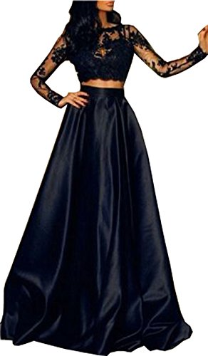 ral Lace Long Sleeve Formal Prom Evening Party Cocktail Long Dress (L) (Top Satin Evening Dress)