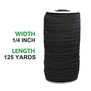 Elastic Band(White, 125-Yards Length, 1/4 inch 6mm Width), Elastic Rope Cord Heavy Stretch High Elasticity Knit Elastic Bundle for Sewing Crafts DIY (Black)