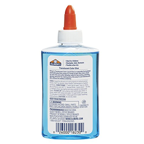 Elmer's Washable Translucent Color Glue, Blue, 5 Ounces, Great for Making Slime Photo #3