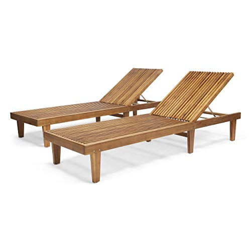 Addisyn Outdoor Wooden Chaise Lounge (Set of 2), Teak Finish ()
