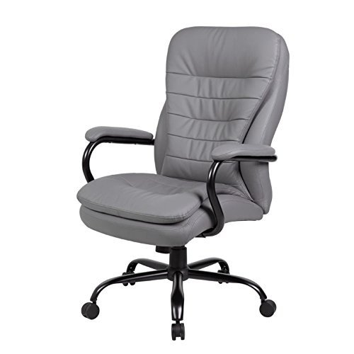 ioneyes-office-products-b991-gy-heavy-duty-double-plush-leatherplus-chair-with-350lbs-weight-capacit