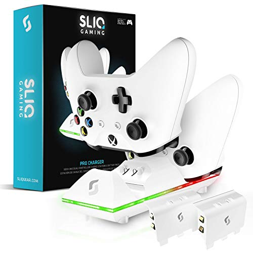 Sliq Xbox One/One X/One S Controller Charger Station and Battery Pack – Includes 2 Rechargeable Batteries – Also Compatible with Elite and PC Versions (White)