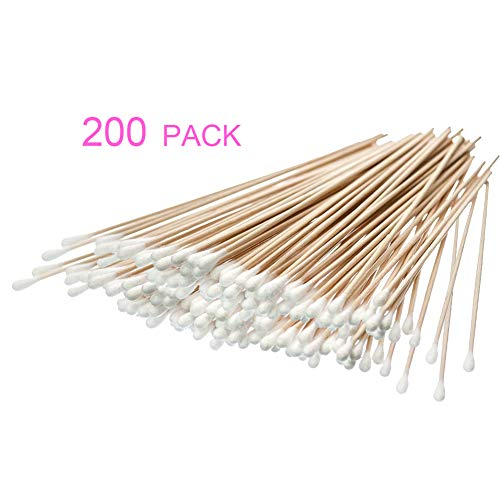 200 Count 6 Inch Swabs Cotton Stick Cotton Tipped Applicator Single Tip with Wooden Handle
