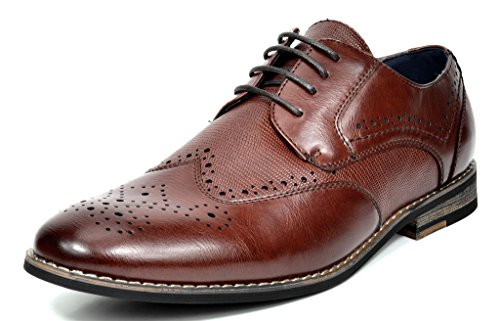 Bruno MARC FLORENCE Men's Oxford Modern Classic Brogue Lace Up Leather Lined Perforated Wing-tip Dress Oxfords Shoes Dark-Brown Size 10.5 (Leather Shoes For Men)