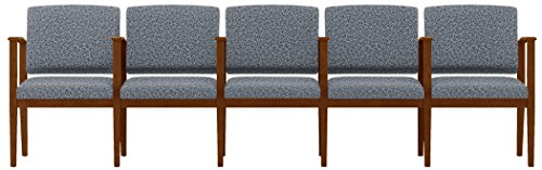 Lesro Amherst Wood 5 Seats with Center Arms in Walnut Finish, Tendril Denim