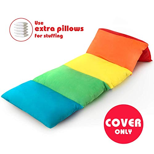 BROLEX Floor Lounger Pillow Bed Cover for Kids,(Pillow Not Included) Comfortable Seat for Reading, Naps, Watching TV, or Sleepovers,Playing, Soft Minky Fabric, Color Unity.