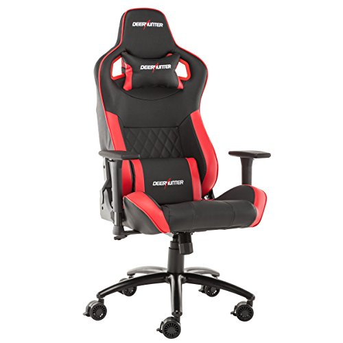 Deerhunter Gaming Chair, Leather Office Chair, High Back Ergonomic Racing Chair, Adjustable Computer Desk Swivel Chair with Headrest and Lumbar Support (Red&Black) Deerhunter