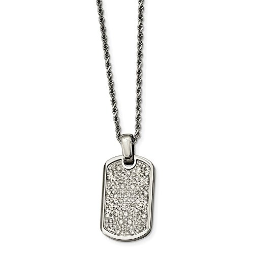 ICE CARATS Stainless Steel Cubic Zirconia Cz Dog Tag Pendant Chain Necklace Man Charm Dogtag Fashion Jewelry Gift for Dad Mens for Him