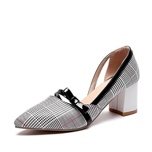 DIMAOL Chaussures pour Femmes en Simili Cuir synthétique Printemps Automne Pompe de Base Talons Talon Chaussures pour Mariage et Soirée Beige Kaki Marron,Beige,US8.5/EU39/UK6.5/CN40