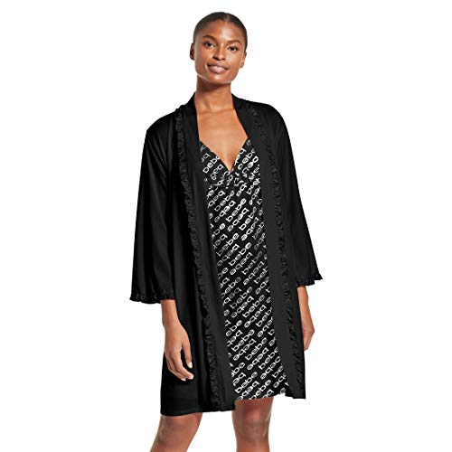 bebe Intimates Foil Print Cami & Cover Up Robe Travel Set, Black, L