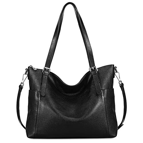 Cowhide Shoulder Bag - Kattee Vintage Cowhide Leather Adjustable Strap Tote Shoulder Bag for Women (Black)