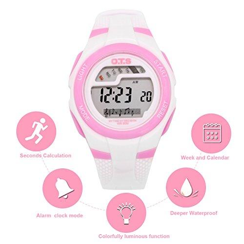 OTS - Reloj Digital Deportivo Impermeable con Alarma Luminoso de Cuarzo Cronómetro para Niños Niñas y Estudiantes - Color Blanco: Amazon.es: Relojes