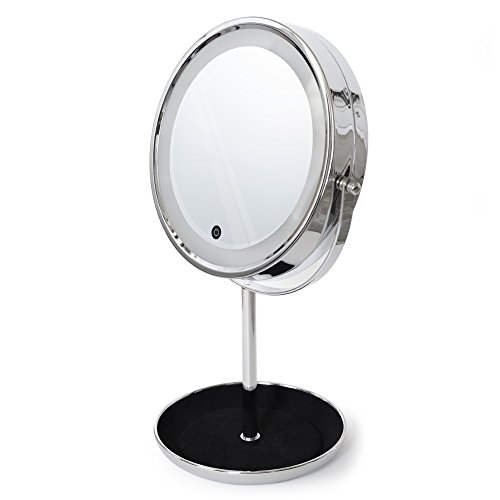 ToiletTree Products Countertop LED Lighted Makeup Mirror with 5x Magnifying, Jewelry Tray, -