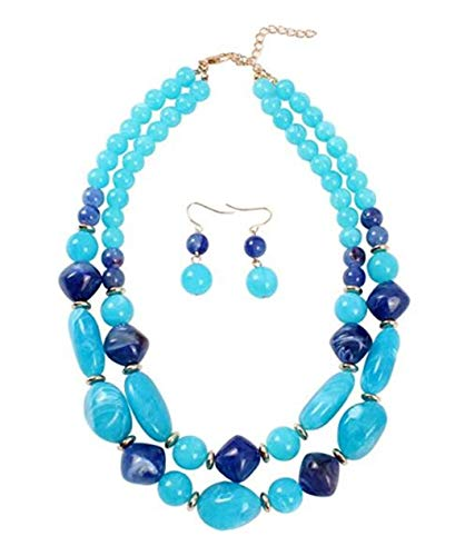 Ufraky Women's Acrylic Candy Color Double Layer Pendant Statement Necklace Earrings Set (Blue)