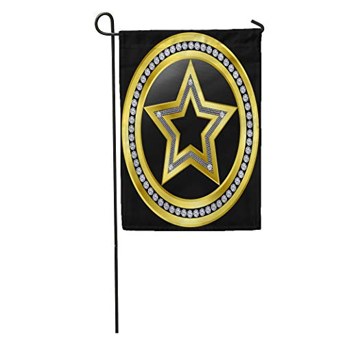(Semtomn Garden Flag Bling Golden Star Emblem Diamonds Celebrity Jewel Gold Label Luxury Home Yard House Decor Barnner Outdoor Stand 12x18 Inches Flag)