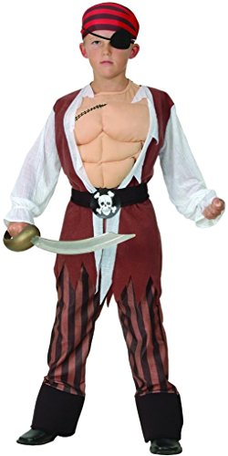 YOU LOOK UGLY TODAY Boy'Classic Pirate Halloween Dress-up Costume, Quality Fabric, Washable & Durable-Large