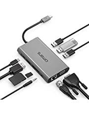 Omars USB C Hub 10 in 1 Aluminum Adapter with 3 USB 3.0 Ports, 4K HDMI, VGA, Ethernet LAN, SD/TF Card Slot, 3.5mm Audio, USB-C Charging Port Compatible for MacBook Pro, Huawei, Samsung S8/S9 and More