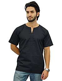 Atasi Men's Casual Short Kurta Indian Tunic V-Neck Cotton Top-Medium