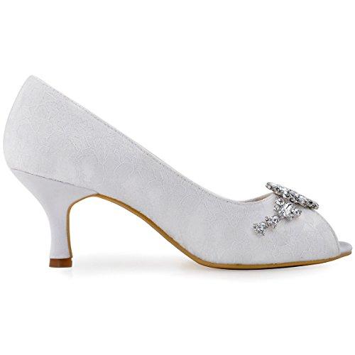 HP1539 Scarpe Sposa Toe A Peep Pizzo Strasss Donna Fiors Pompe Tacco Bianco Medio Da Catenella ElegantPark FdqpnF