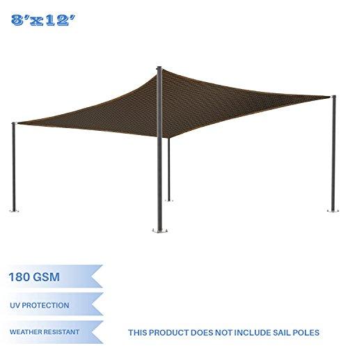 E&K Sunrise 8' x 12' Brown Sun Shade Sail Square Canopy - Permeable UV Block Fabric Durable Patio Outdoor Set of 1 ()