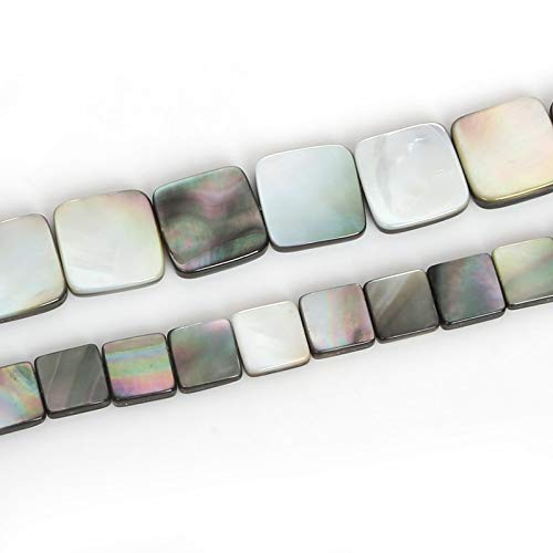 (Pukido 10mm /15mm Fashion Natural Black Lip Sea Shell Beads Cube Square Flat Beads for DIY Necklace Bracelet Jewelry Findings Making - (Item Diameter: 15mm Approx 26pcs))