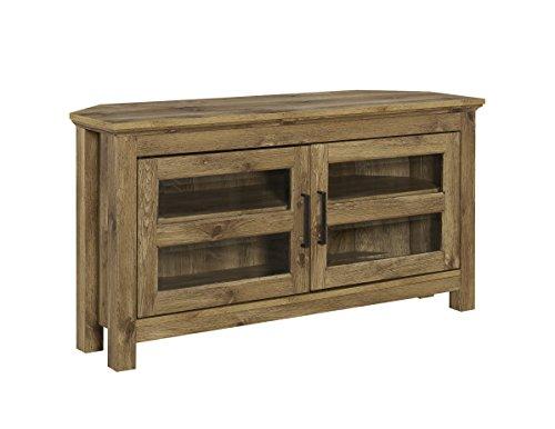 WE Furniture AZQ44CCRBW Modern Farmhouse Corner TV Stand, -