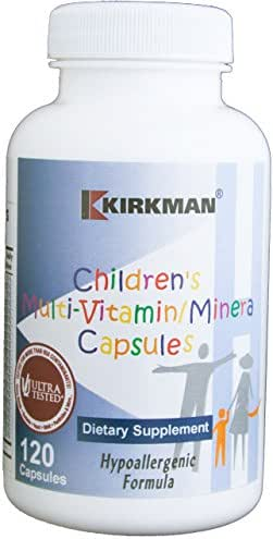 Kirkman Children's Multi-Vitamin/Mineral - Hypoallergenic    120 Vegetarian Capsules    Free of common allergens   Tested for more than 950 environmental contaminants