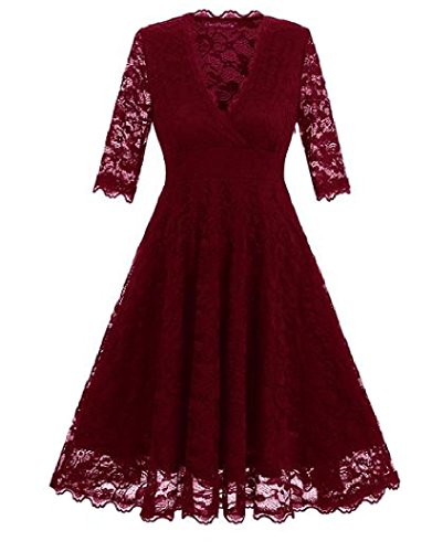 Femme Manches 3/4 Coolred Dentelle Col V Grande Taille Ourlet Accepter Mini Robe Rouge Vin