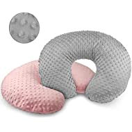 Vextronic Nursing Pillow Cover Plush Breastfeeding Pillow Slipcover Girl and Boy,Ultra Soft Snug Fits On Infant Nursing Pillow,2 Pack (Grey&Pink)