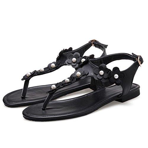 COOLCEPT Mujer Moda Correa de Tobillo Correas Sandalias Plano Chancleta Slingback Zapatos con Flor Tamano Negro