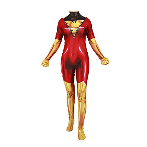 Superhero Cosplay Costume for Womens Halloween Full Set Bodysuits Zentai 3D Style Jumpsuit (Adult-M, Phoenix -