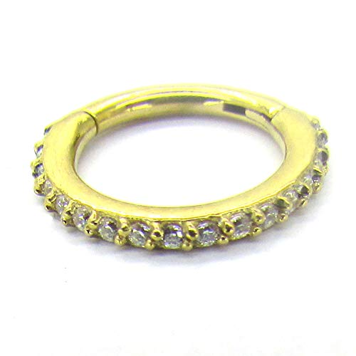 NewkeepsR 16G 10mm(3/8'') Gold Anodized 316L Steel Hinged Clicker Segment Ring Pave Set with Clear Sparkling CZ Gems