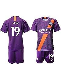 CUXS New Manchester City Sane #19 Away Purple Kids/Youth Soccer Jersey 2018/2019