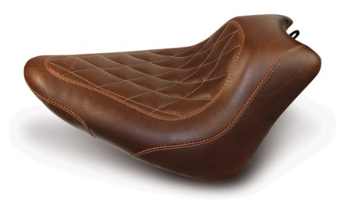 Mustang Motorcycle Seats Wide Tripper? Solo in Distressed Brown with Diamond Stitch for Harley Davidson? Softail FXS Blackline 2011-13 & FLS Slim 2012+ ()
