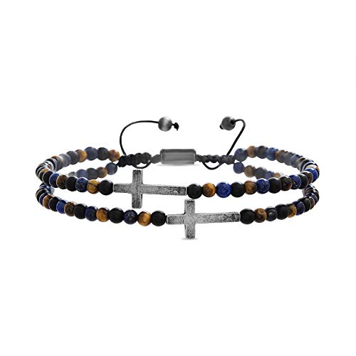 - Steve Madden Cross Station Double Strand Blue Lapis and Brown Tigers Eye Beaded Adjusable Bracelet for Men (Multicolor)