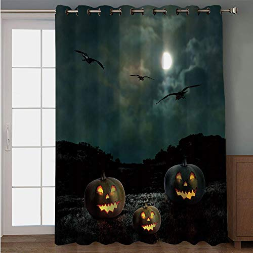 iPrint Blackout Patio Door Curtain,Halloween,Yard of an Old House at Night Majestic Moon Sky Creepy Dark Evil Face Pumpkins Decorative,Multicolor,for Sliding & Patio Doors, 102