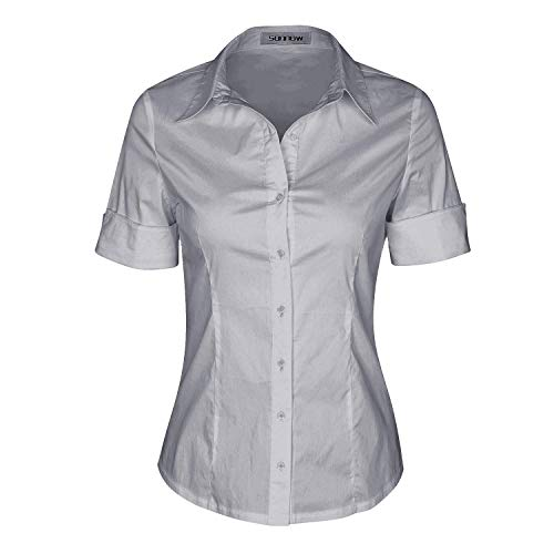 (SUNNOW Womens Tailored Short Sleeve Basic Simple Button-Down Shirt with Stretch (M, Light Grey))
