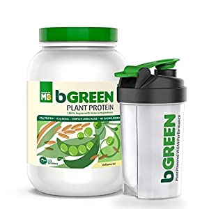 bGREEN by MuscleBlaze 100% VEGAN Plant Protein Powder, 25 g Pure Plant Protein, Unflavoured,1 KG 33 Servings Complete…