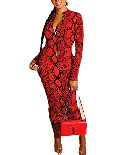 Xuan2Xuan3 Women's Dresses Fall Long Sleeve Snake Printed Zipper Neck Knit Bodycon Evening Party Long Dress 7 Colors Red
