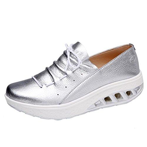 Silber Khaki Frauen Mädchen Schuhe Sneaker Frauen Fitness Laufschuhe Shake Turnschuhe erhöhen Turnschuhe HKFV 39EU Schuhe Sportschuhe Leicht TBqwH