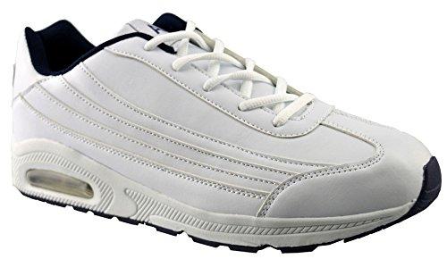 Zapatillas Para Correr De Cuero Sintético Air Tech Para Hombre 13 Blancas