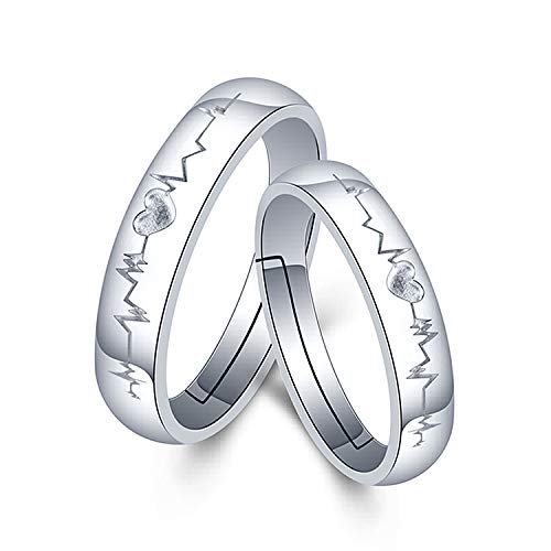 (TzrNhm Blossom EKG Heartbeat Wedding Ring for Men Women Valentine Birthday Gifts Nurse Gift Relationship Gifts Girlfriends Boyfriend Ring Set (Silver Couple Heartbeat Rings) )