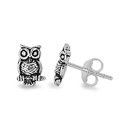 Tiny Oxidized Owl Stud Post Earring 925 Sterling Silver