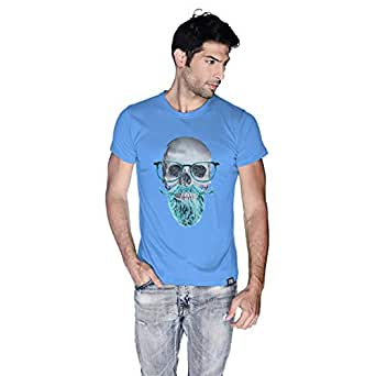 Creo Mint Beard Skull T-Shirt For Men - M, Blue