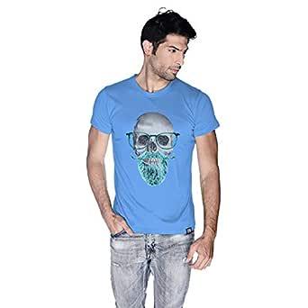 Creo Mint Beard Skull T-Shirt For Men - M, Blue