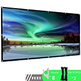 100 inch Projection Screen Portable 16:9 HD 4K Anti-Crease Movie Projector Screen with Hanging Hole Grommets Support Double-Sided Projection for Home Theater Indoor and Outdoor