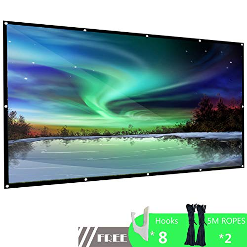 100 inch Projection Screen Portable 16:9 HD 4K Anti-Crease Movie Projector Screen with Hanging Hole Grommets Support Double-Sided Projection for Home Theater Indoor and Outdoor by JOITRE