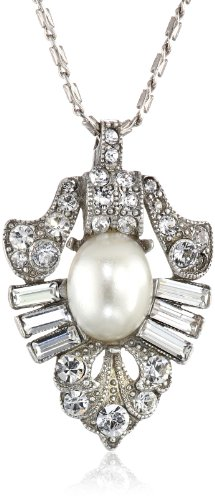 Ben-Amun Jewelry Pearl and Crystal Navette Pendant Necklace, 15