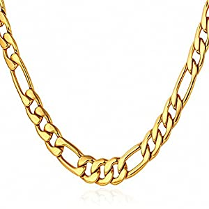 "BCM JEWELRY 5MM Wide Men's Stainless Steel 18K Gold Cuban Curb Link Figaro Chain Necklace 18""~30"""