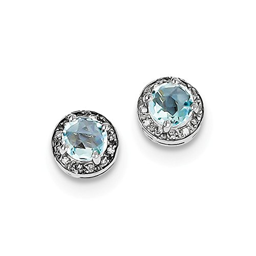 Sterling Silver Rhodium-plated Diamond & Blue Topaz Earring by Jewels By Lux